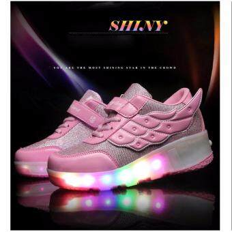 Malaysia Prices Student LED RGB Lace Up Luminous Girls Boys Light Wings Roller Skate Kids Shoes Pink