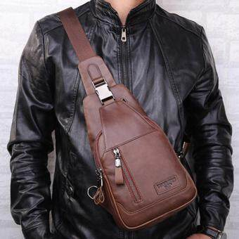 Malaysia Prices Retro Outdoor Oil Wax Genuine Cow Leather Man Crossbody Bag Sling Shoulder Backpack Bag Chest Bags For Hiking Cycling Camping Travel (Brown)