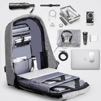 Malaysia Prices Leisure Canvas Anti-theft Unisex Men and Women Backpacks Rucksack Business Travel 14inch Laptop Bag Fashion Male School College Bag Daypack with USB Charging Port (Grey)