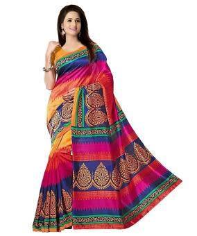 Malaysia Prices Bikaw Printed Multicoloured Bhagalpuri Silk Fashion Festival Wear Women's Saree.