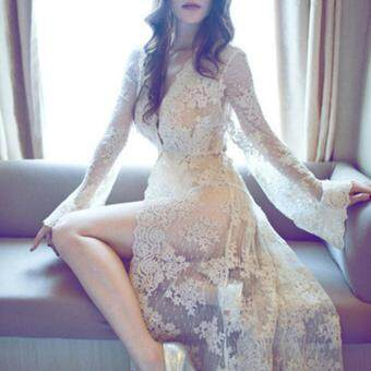 Malaysia Prices Sexy Long Bathrobe High Quality Lace Robe With Knickers Robes Sexy Costumes Nightwear Female Nightie(Beige)