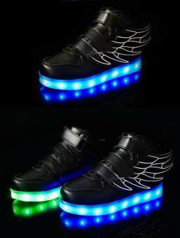 Malaysia Prices Children's LED lights wings shoes boys and girls casual shoes sneakers - Black