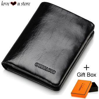 Malaysia Prices Loveu Luxury Black Leather Wallet Mens Wallet Best Valentine Lover Gift Birthday Gift Trifold Soft Cow Leather Wallets ID Credit Card Holder Clutch Zipper Coin Purse Wallet