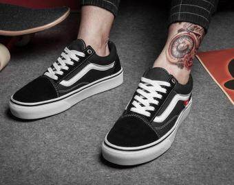 Malaysia Prices Vans classic old skool pro unisex street low top canvas shoes for men's and women's os skateboarding sneakers(black)