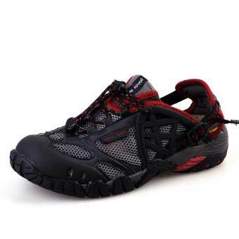 Malaysia Prices PATHFIDNER Men's Trail Sandals Waterproof Hiking Shoes Light Mountain Climbing Shoes Wading Shoes-Black