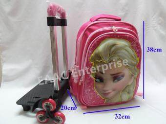 Malaysia Prices 3D Frozen Elsa 6 Wheels Trolley Kid Climb Stair Primary School Bag Backpack