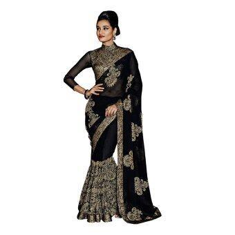 Malaysia Prices Indian Ethnic Georgette Black Embroidered Saree Sari D.No SAR1738