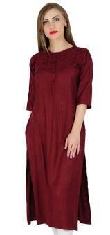 Malaysia Prices Bimba Women Rayon Straight Kurta Kurti 3/4 Sleeve Casual Summer Blouse, Maroon