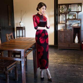Malaysia Prices Female Summer Fashion Dress Chinese Wind Cheongsam (Red Black)