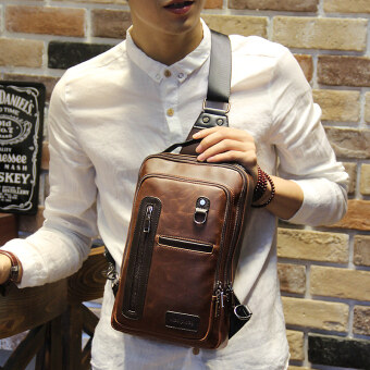 Malaysia Prices Tidog Fashion Crazy Horse chest bag male Korean tide chest pack men leisure bag crossbody bag