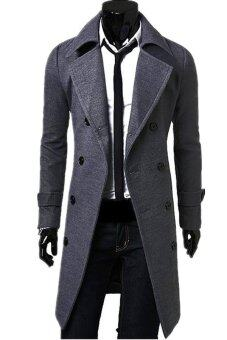 Malaysia Prices Men's Slim Fit Double Breasted Button Coat (Grey)