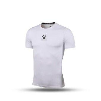 Kelme K15Z731 Men Quick-drying Unitard Pro Thin Short Sleeve High-elastic Wicking Gym Sport T-shirt Straitjacket (White)