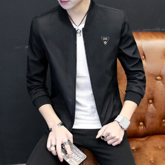 Korean-style men autumn New style casual jacket spring and autumn jacket (Black)