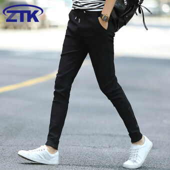Korean-style men autumn slim fit pants feet Slim fit pantyhose pants (Black thin (6022))
