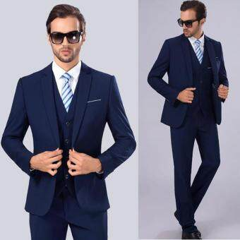 Korean Style Men Business Suit Set Formal Suits Pants Vest Full Set Slim Fit Men Wedding Suit (Blazer&Trousers&Vest)