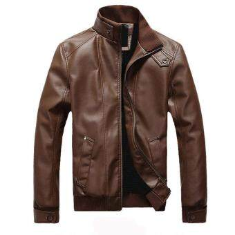 Korean Style Men Slim Fit Fashion Casual locomotive Leather jacketMale thick Leather Coat Outwear Blazer