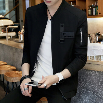 Korean-style New style Spring and Autumn youth winter jacket men's jacket (Black 18 models)