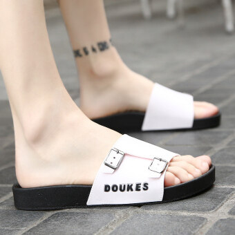 Korean-style summer sandals men's sandals slippers (White)