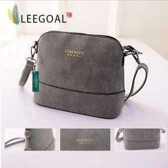 Leegoal Women Vintage Frosted PU Leather Messenger Bag, Dark Grey