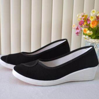 Leyi Ms comfortable wedges canvas work shoes (Black)