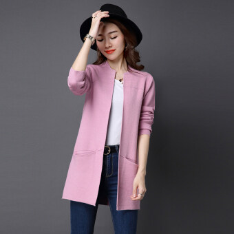 LOOESN solid mid-length slimming sweater cardigan (Pink)