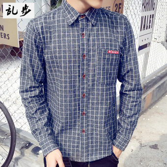 Loose autumn New style men's shirt (Long sleeve plaid shirt blue) (Long sleeve plaid shirt blue)