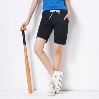 Loose Korean-style female running Plus-sized female shorts sports shorts (Black) (Black)