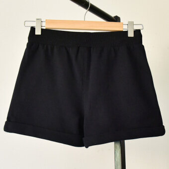 Loose Korean-style female thin student shorts cotton sports shorts (Black) (Black)