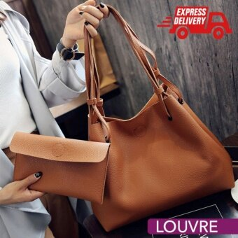 LOUVRE Set of 2 PU Leather Elegant Premium Tote Handbags Bags