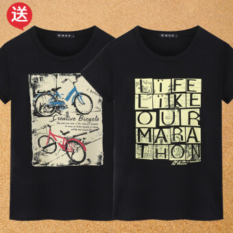 Lycra printed short sleeved men T-shirt (102 black + 103 black) (102 black + 103 black)