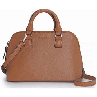 Mango Saffiano Cross Leather Effect Tote Shell Shoulder Bag (Brown)