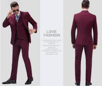 Men Business Suit Set Formal Suits Pants Vest Full Set Slim Fit MenWedding Suit (Blazer&Trousers&Vest)