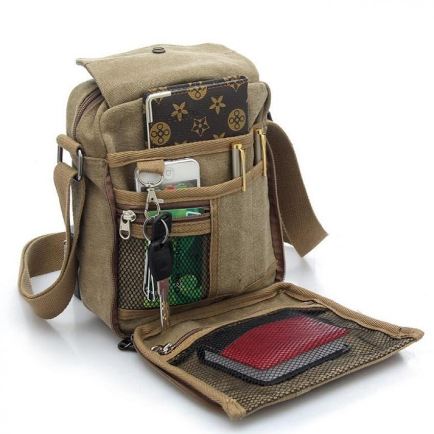Men Canvas Multipockets Sling Cross Body Shoulder Bag (Khaki ...