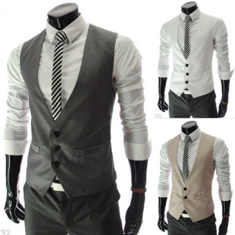 Men's suit vest business England jacket casual waistcoat tide Spring and Autumn Korean-style Slim fit vest-season clearance (Gray)