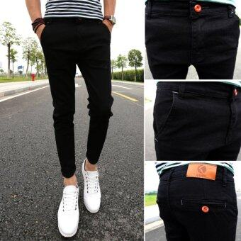 Mens Fashion Slim Casual Denim Pants Youth Cotton Skinny Men Jeansmovement Fit Trousers Black