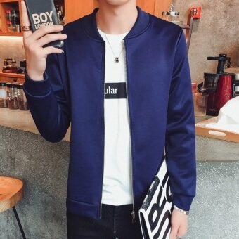 Men's jacket autumn 2016 New style Top young Korean-style casualStylish men's jacket men jacket Spring and Autumn dress (Solidcolor-dark blue)