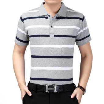 Men's summer loose dress thin section cotton short-sleeved poloshirt (103 stripes) (103 stripes)