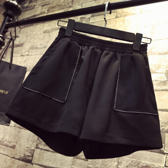 MM female loose Slimming effect shorts (189 black big pockets)