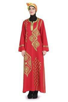 MoonAbaya Jubah Arab Bold Spun Embroidery Red