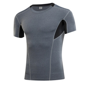 Pro football bottoming compression training clothes T-shirt fitness clothes (Gray) (Gray)