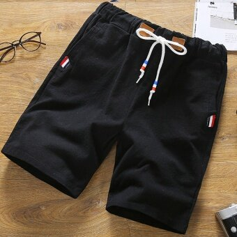 Shorts male summer casual pants men's shorts pants five pants linentide Korean-style Slim fit summer beach pants men (DK27 black)