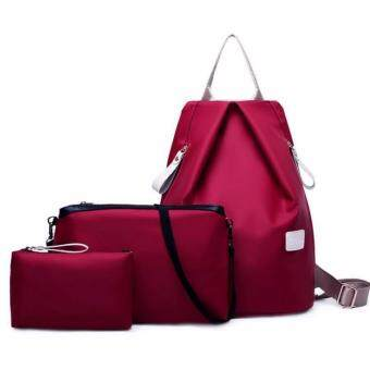 Sinma New fashion 3 pcs Waterproof SQUARE Nylon Oxford Bags - Wine Red