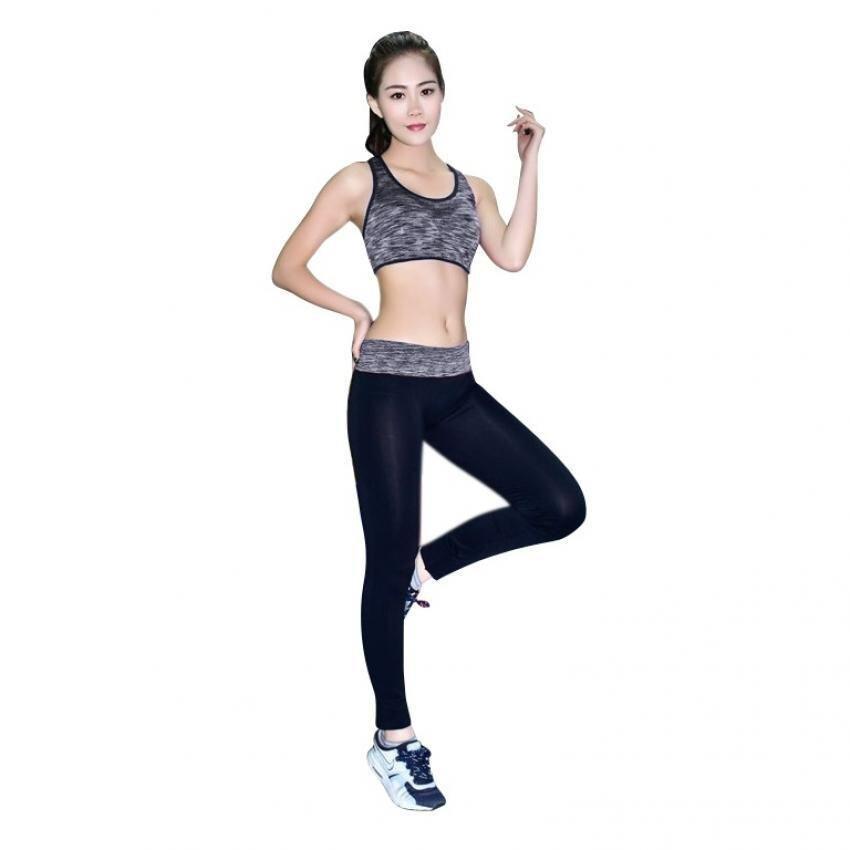 Women Lace Yoga Push Up Sports Bra (Black)