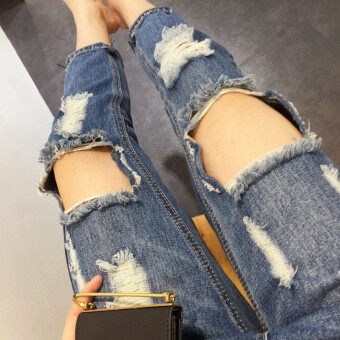 Spring and summer jeans female loose big hole in the knee pantyhose beggar hole pants harem pants collapse pants korean version of the influx of people