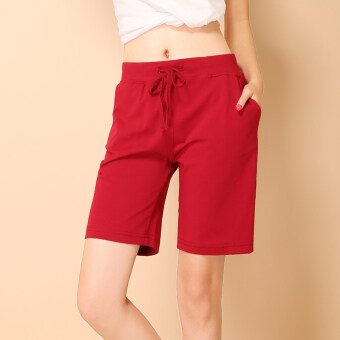 Summer thin section cotton sports pants Women Sports shorts summershorts pants casual pants female Plus-sized shorts (Maroon)