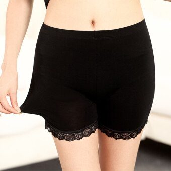 Three points modal anti-female summer shorts lace Safety pants (Black lace) (Black lace)
