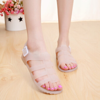 US jelly shoes plastic flat sandals female plastic Roman rubberboots with flat student beach shoes tide (Lotus color)
