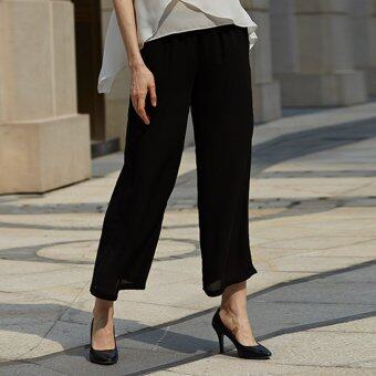 Women Chiffon Wide Leg Pants Straight Solid Color (Black) - Intl ...