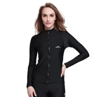 Women Diving Snorkeling Wetsuit Swim Shirts Tops Long Sleeve RashGuard Surf Shirt Swimwear - Black