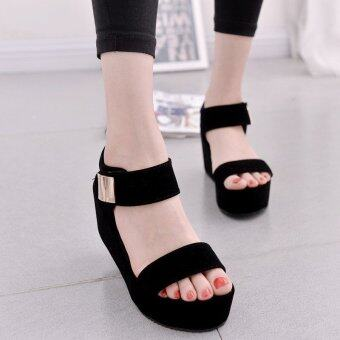 Women Flat High Wedge Sandals Ankle Strap Velcro Platform Shoes Chunky Creepers